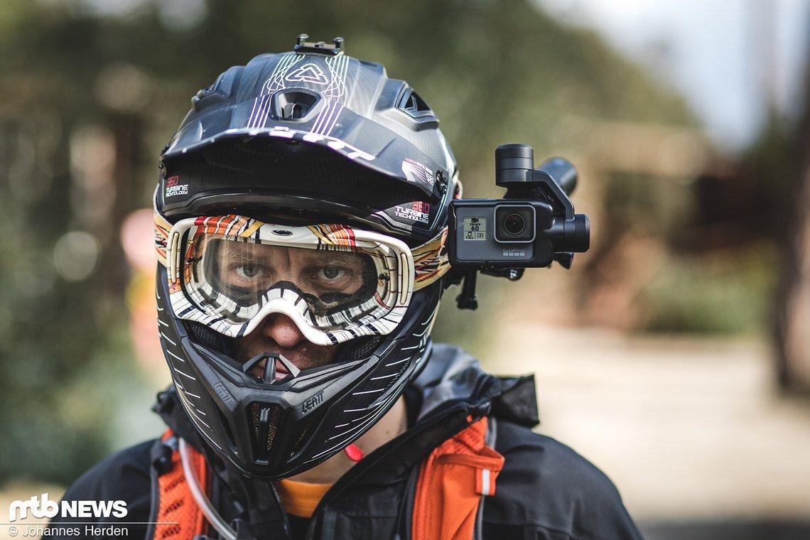 Unsere bevorzugte Position zum eMTB-Fahren befand sich an der Seite des Helms …