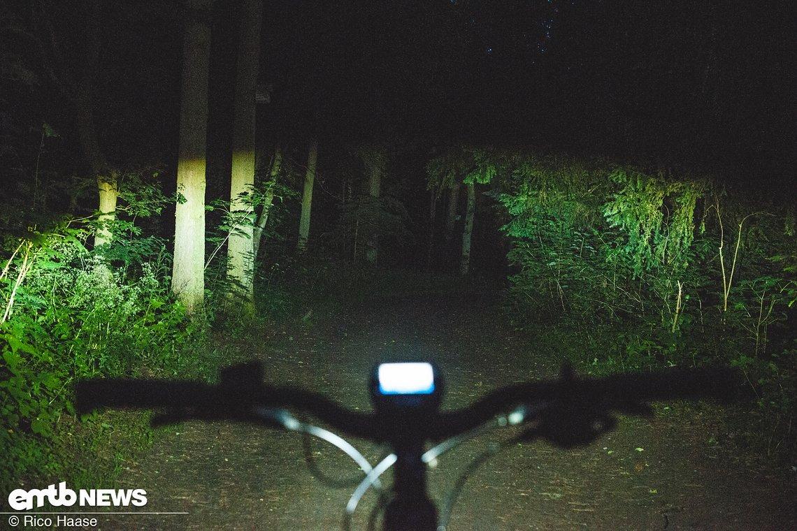Der Lichtkegel auf dem Trail
