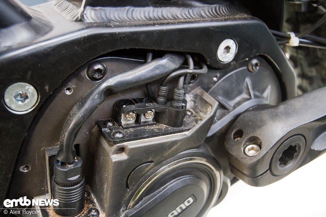 Hier sind alle Kabel sauber zwischen Motor und Rahmen verlegt