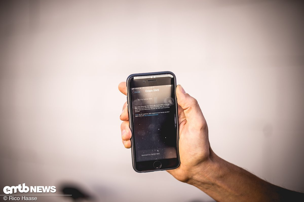 So sieht eine Notruf-SMS bei eConnect aus