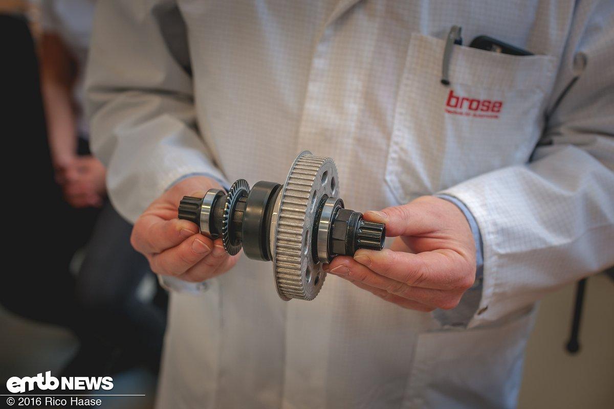 Der Klemmkörperfreilauf der Firma GMN aus Nürnberg sitzt unter dem Magnesiumriemenrad und entkoppelt den Motor zu 100 %