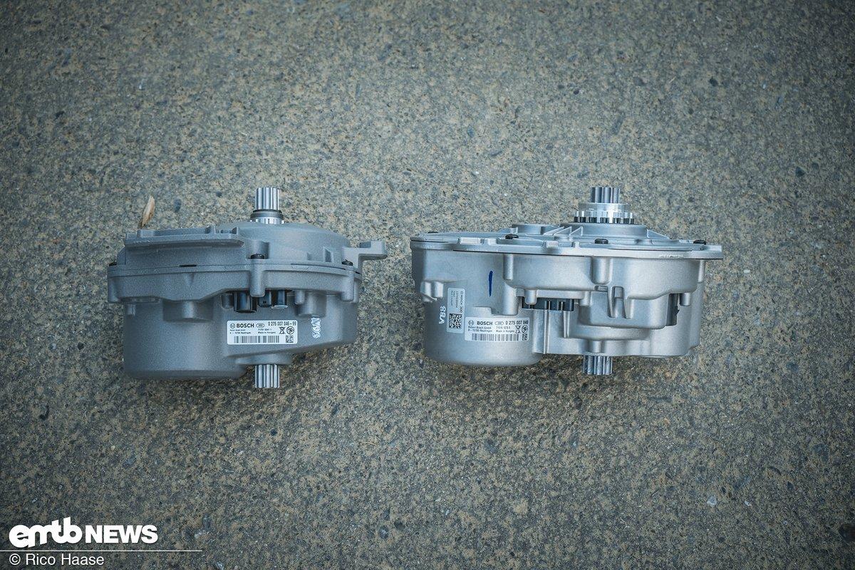 Gut zu erkennen, dass der neue Motor (links im Bild) kürzer und kompakter ist
