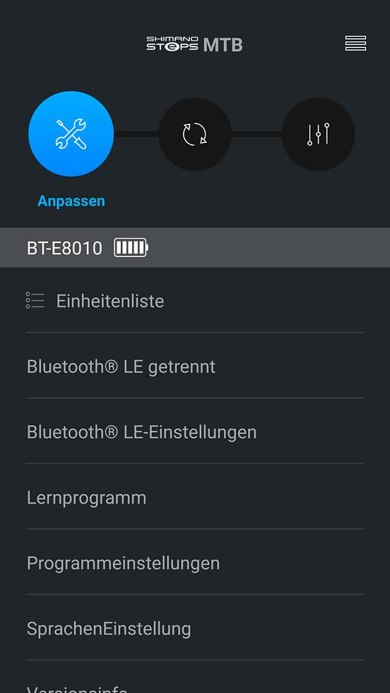 Nachdem du dein E-Bike mit deinem Handy verbunden hast wählst du oben den Button für Einstellungen aus (Schraubenzieher und Schraubenschlüssel)