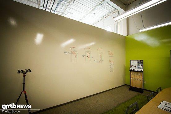 An der Wand können neue Konzepte und Ideen skizziert werden.