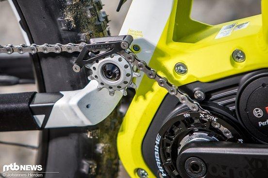 Der Bosch-Motor mit Kettenumlenkung am XDURO AllMtn 7.0