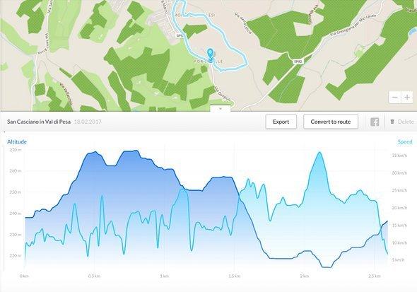 Graphen bilden Höhe und Geschwindigkeit der gefahren Route ab.